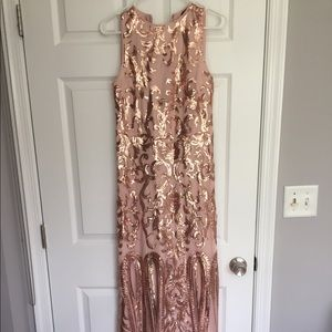 Dresses & Skirts - Rose Gold Pink Sequin Prom Evening Dress